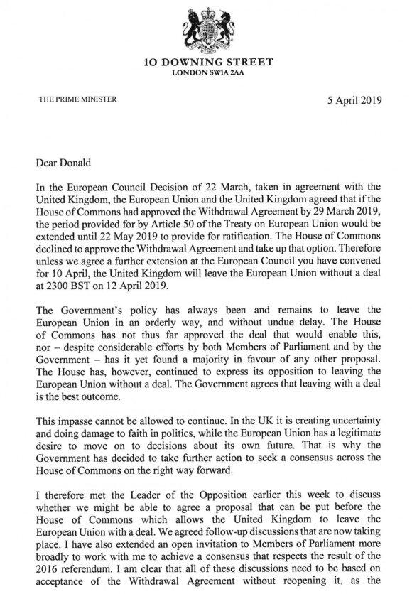 Theresos May laiškas Donaldui Tuskui