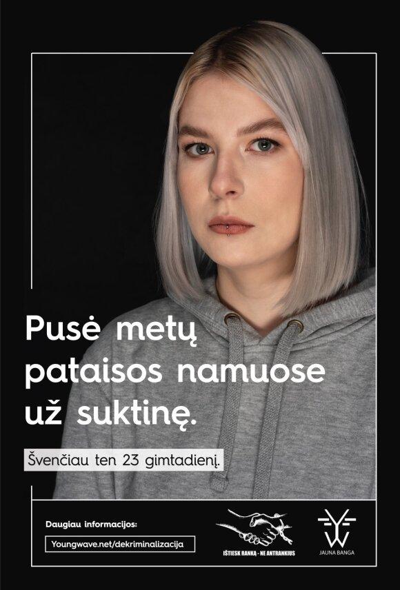 """""""Ištiesk ranką – ne antrankius"""" plakatas"""