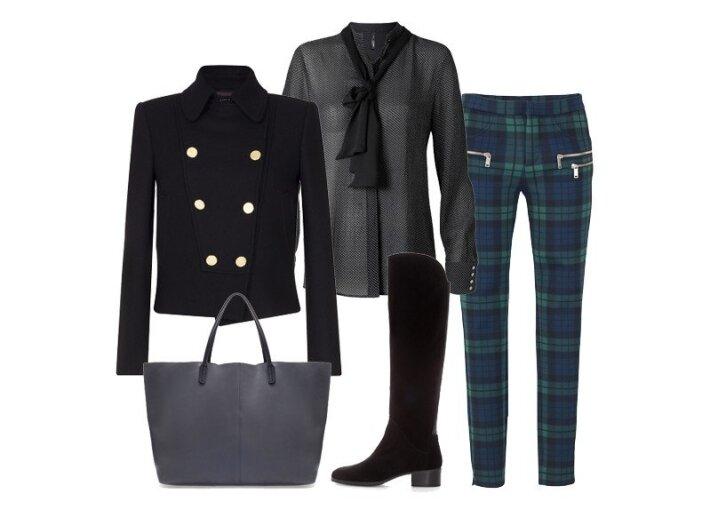 """Kelnės, švarkas, rankinė ir batai """"Zara"""", palaidinė """"Mango""""."""