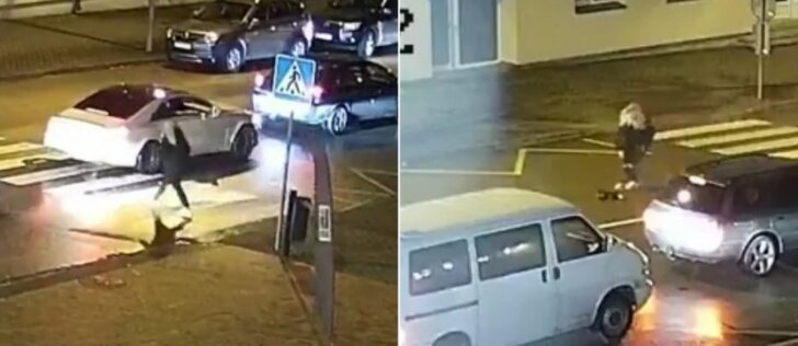 Nufilmavo kraupų vaizdą: automobilis perėjoje partrenkė šunį ir nė nestabtelėjo