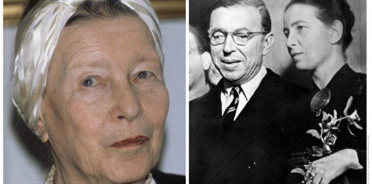 """Feminizmo karalienė <span style=""""color: #c00000;"""">Simone de Beauvoir</span> – ištikimoji žmona, leidusi vyrui miegoti su kitomis"""