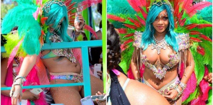 Rihanna pirmą kartą atvirai parodė akivaizdžiai papilnėjusią figūrą