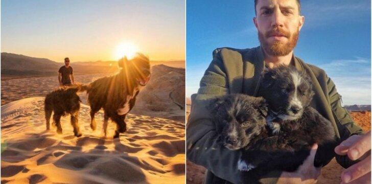 Vyras išgelbėjo dykumoje paliktus šuniukus
