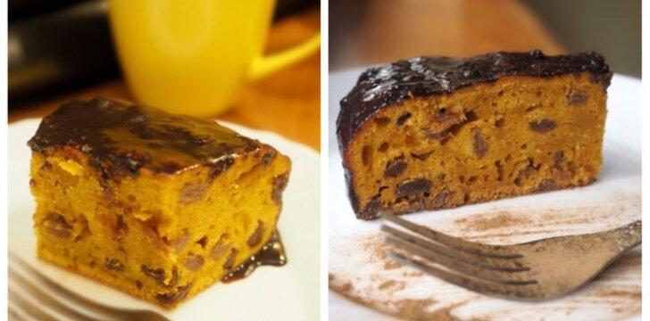 Morkų pyragas su razinomis ir kakavine glazūra
