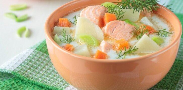 Lašišos sriuba su grietinėle