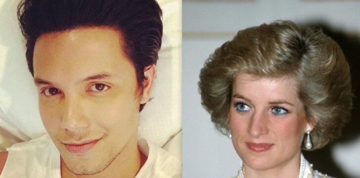 Aktorius ir laidų vedėjas Paolo Ballesteros dėl makiažo tampa neįtikėtinai panašus į visų mylėtą princesę Dianą.
