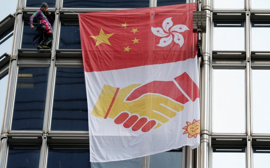 Hong Kong, Beijing supporters square off in Vilnius rally: two taken to police