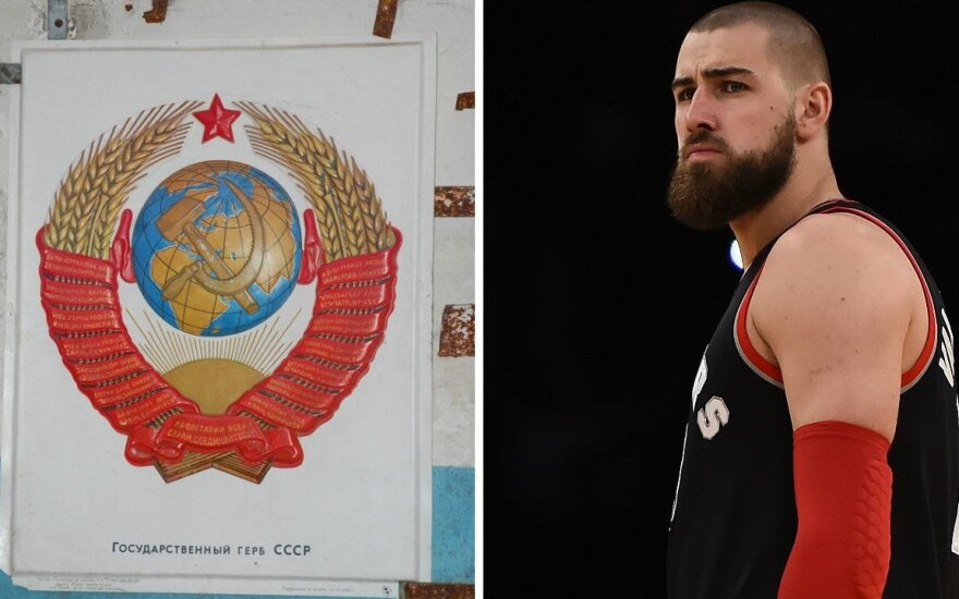 Jonas Valančiūnas next to the USSR's coat of arms