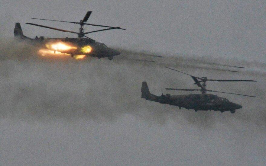 Sirijoje sudužo karinis rusų sraigtasparnis Ka-52, žuvo abu pilotai