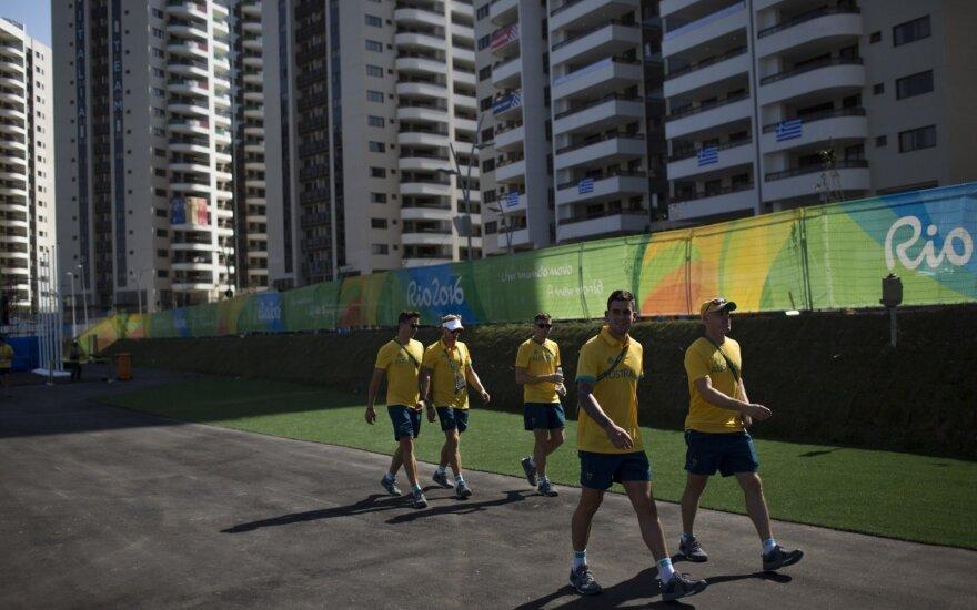 Australijos žolės riedulininkai Rio de Žaneiro olimpiniame kaimelyje