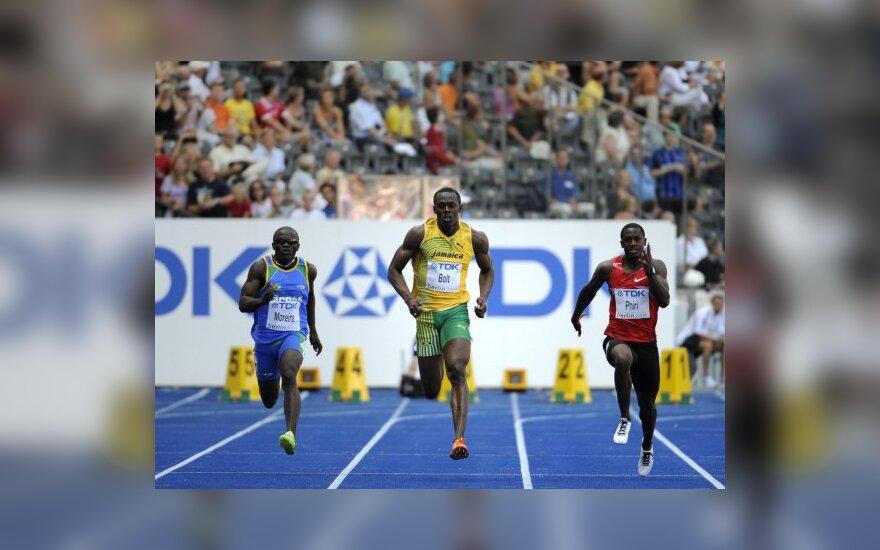 Priekyje Jamaikos sprinteris Usainas Boltas
