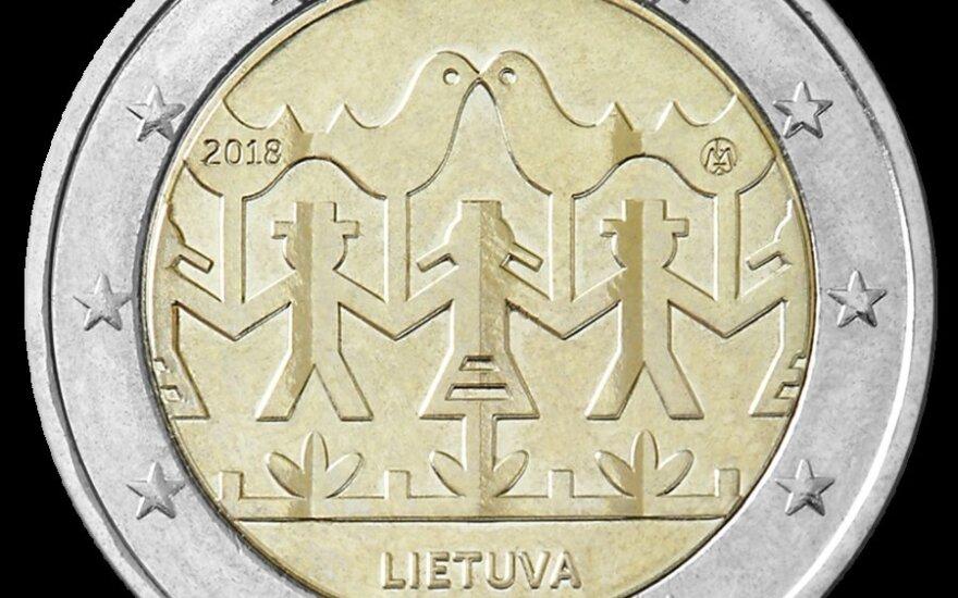 Išleidžiama nauja 2 eurų moneta, skirta Dainų šventei