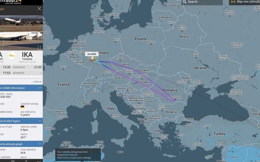 """""""Lufthansos"""" lėktuvas pakeliui į Teheraną apsisuko ir grįžo: atšaukiami skrydžiai"""