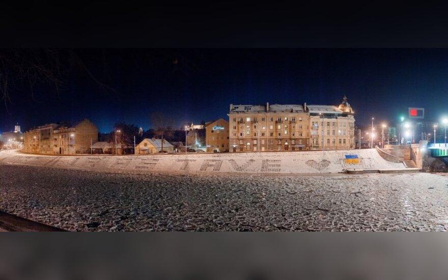 Vilniaus gatvėse pripiešta Ukrainos ženklų