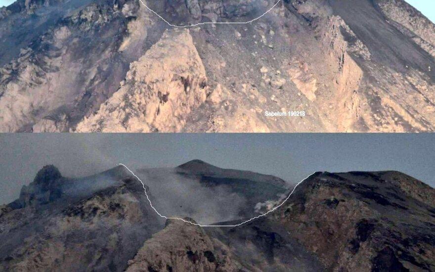 Stiprus išsiveržimas pekeitė ugnikalnio viršūnės pavidalą