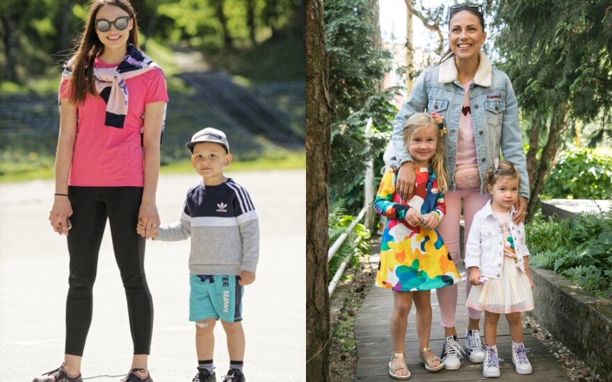 Ieva Mackevičienė su sūnumi, Julija Žižė su dukromis