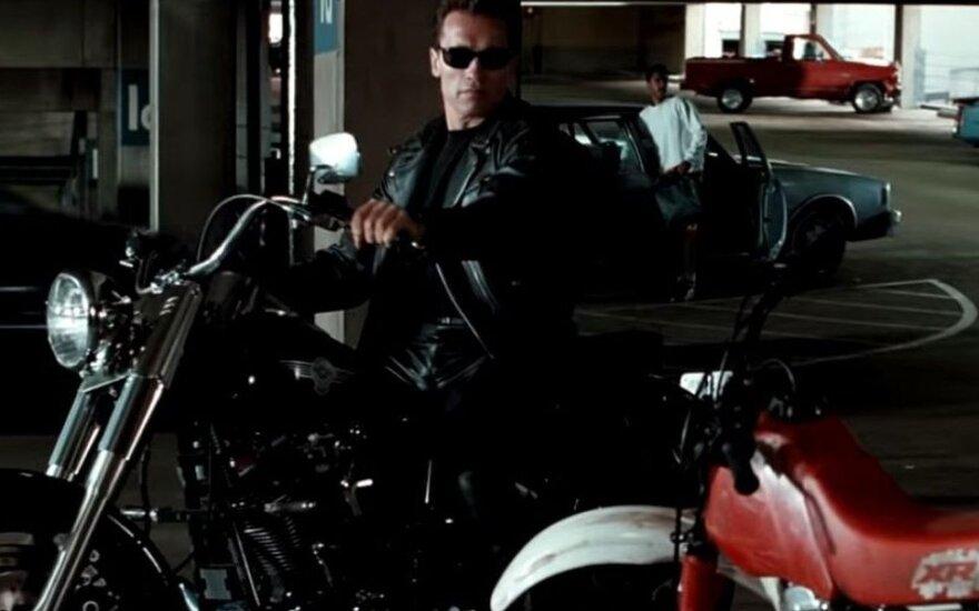 "Schwarzeneggerio suvaidinto Terminatoriaus ""Harley-Davidson Fat Boy"" parduotas už beveik pusę milijono"