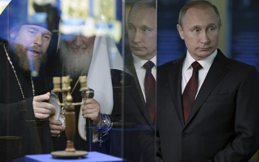 Bishop Tihon, patriarch Kiril and President Vladimir Putin