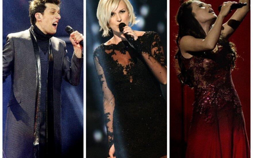 """Armėnijos atstovas """"Aram MP3"""", Švedijos atstovė Sanna Nielsen ir  Azerbaidžano atstovė Dilara Kazimova"""
