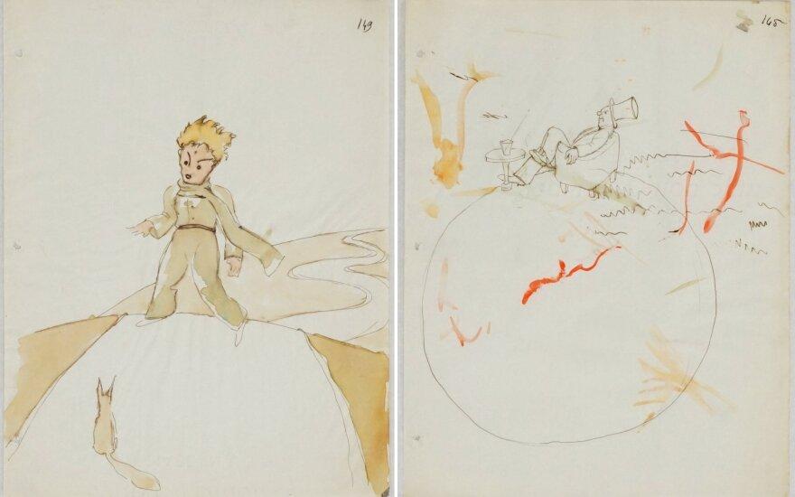 """Rasti iki šiol specialistams nežinomi prancūzų rašytojo Antoine'o de Saint-Exupery piešiniai jo knygai """"Mažasis princas"""""""