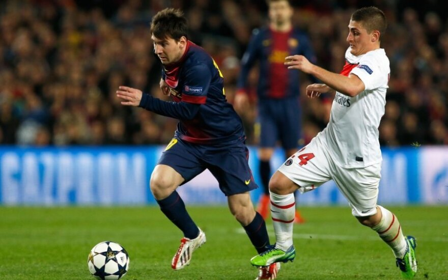 "Lionelis Messi (""Barcelona"") ir Marco Verratti (PSG)"