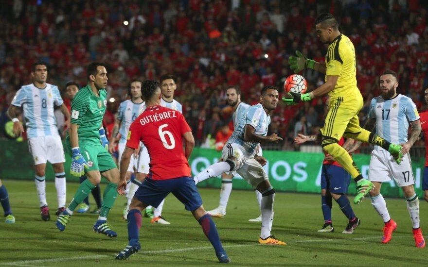 Atranka į pasaulio čempionatą: Čilė pralaimėjo Argentinai, o Bolivija – Kolumbijai