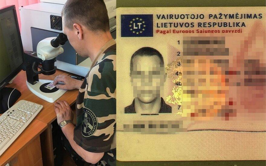 Teisės vairuoti neturintis vyras pasieniečiams pateikė klastotę ir atsidūrė areštinėje