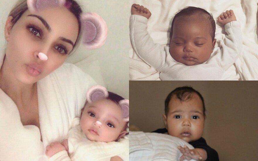 Kim Kardashian su vaikais Chicago, Saintu ir North