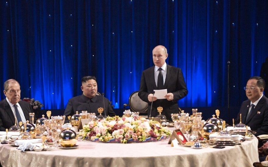Sergejus Lavrovas, Kim Jong Unas, Vladimiras Putinas, Ri Yong-ho
