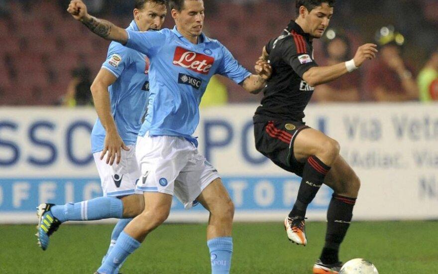 """Marekas Hamšikas (""""Napoli"""") ir Alexandre'as Pato (""""AC Milan"""")"""