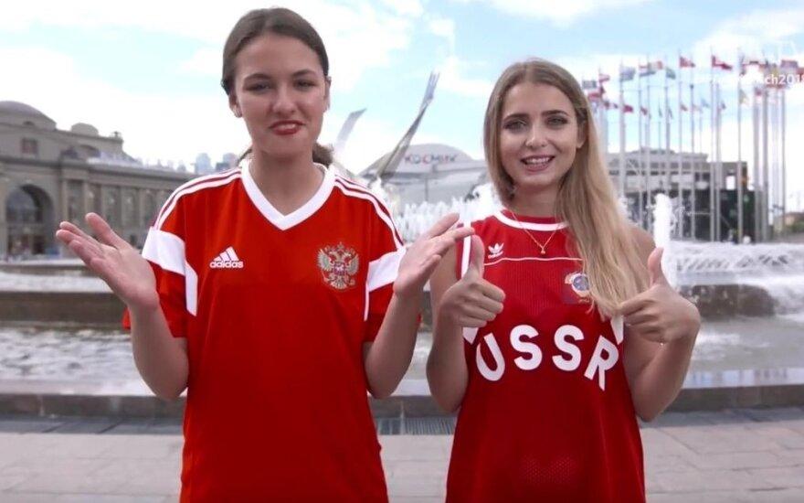 Oficialiose FIFA laidose apie čempionatą – vedėjos su sovietine atributika