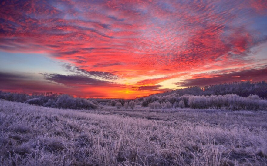 A beautiful winter sunset
