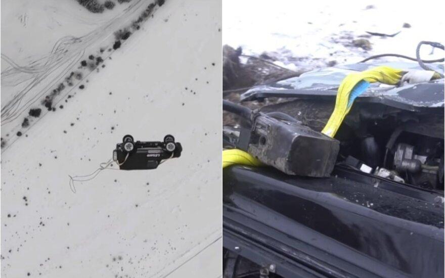 """Išmetęs iš sraigtasparnio rusas sudaužė prabangų """"Mercedes-Benz"""""""