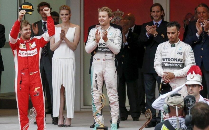 Sebastianas Vettelis, Nico Rosbergas ir Lewisas Hamiltonas