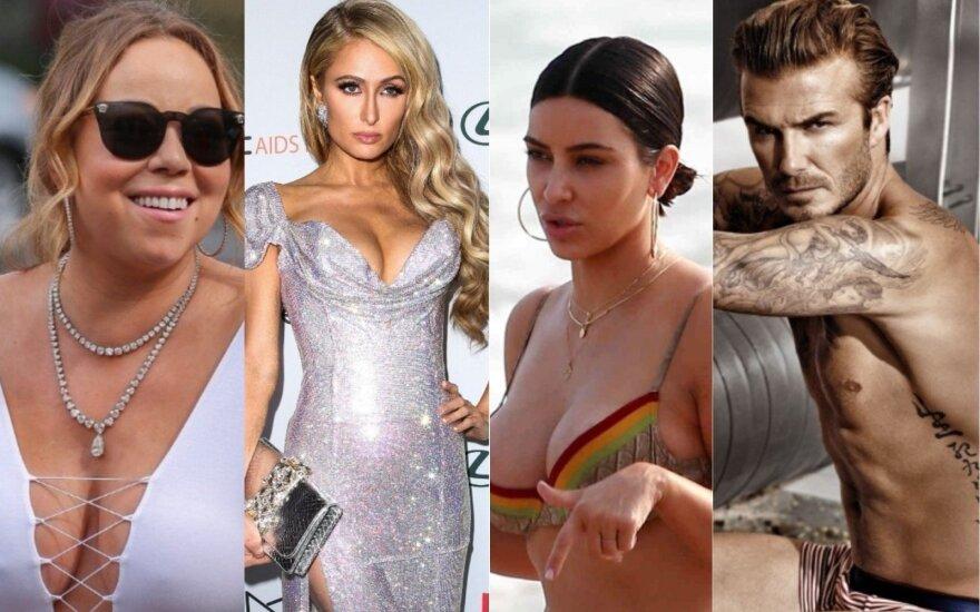 Mariah Carey, Paris Hilton, Kim Kardashian, Davidas Beckhamas