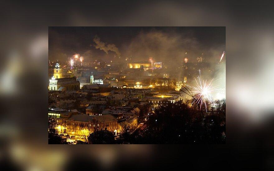 Vilniaus senamiesčio panorama pirmąsias metų minutes