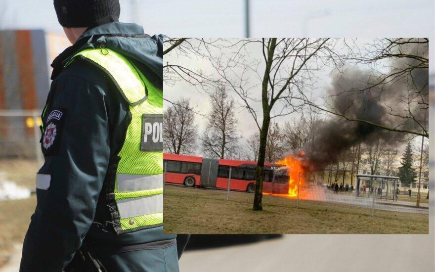 Vilniuje ant kojų sukeltos spec. tarnybos: teigiama, kad užsiliepsnojo autobusas