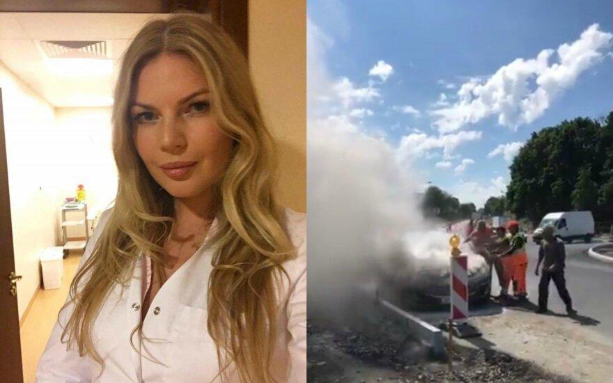 Solveiga Mykolaitytė, degantis automobilis