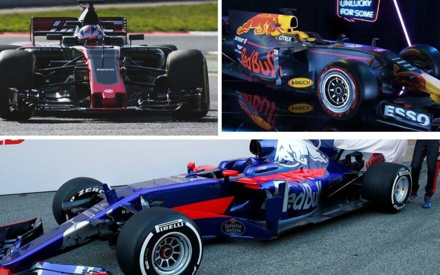"""""""Haas"""", """"Red Bull"""" ir """"Toro Rosso"""" komandų nauji automobiliai"""