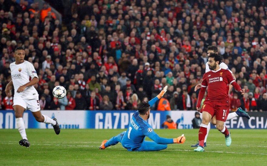 """Salah šou UEFA Čempionų lygos pusfinalyje: """"Liverpool"""" įvarčių fiestoje pranoko """"Romą"""""""