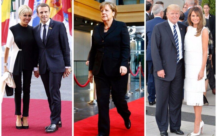 Brigitte ir Emmanuelis Macronai, Angela Merkel, Donaldas ir Melania Trumpai