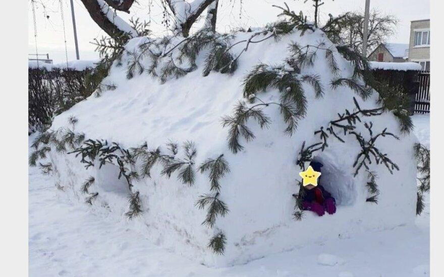 Kėdainių rajone anūkams pastatė tikrą sniego namą: džiugina viso kaimo gyventojus
