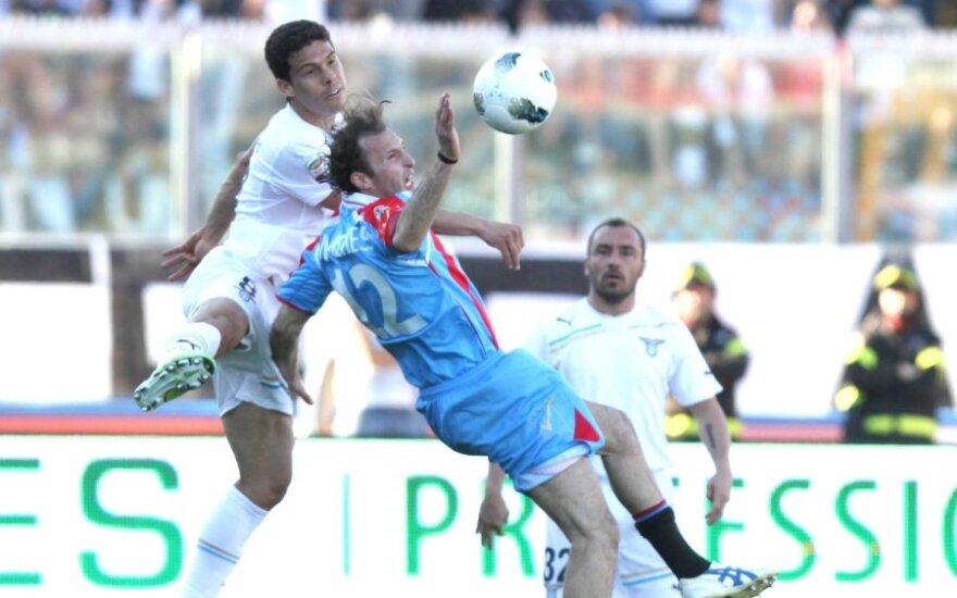 """""""Catania"""" ir """"Lazio"""" klubų mačo momentas"""