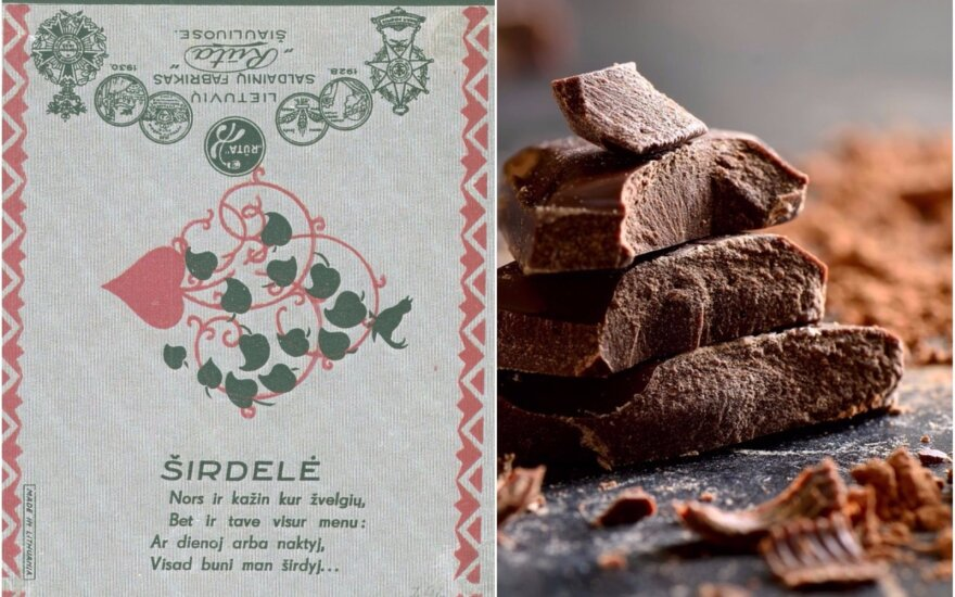Sena lietuviško šokolado etiketė