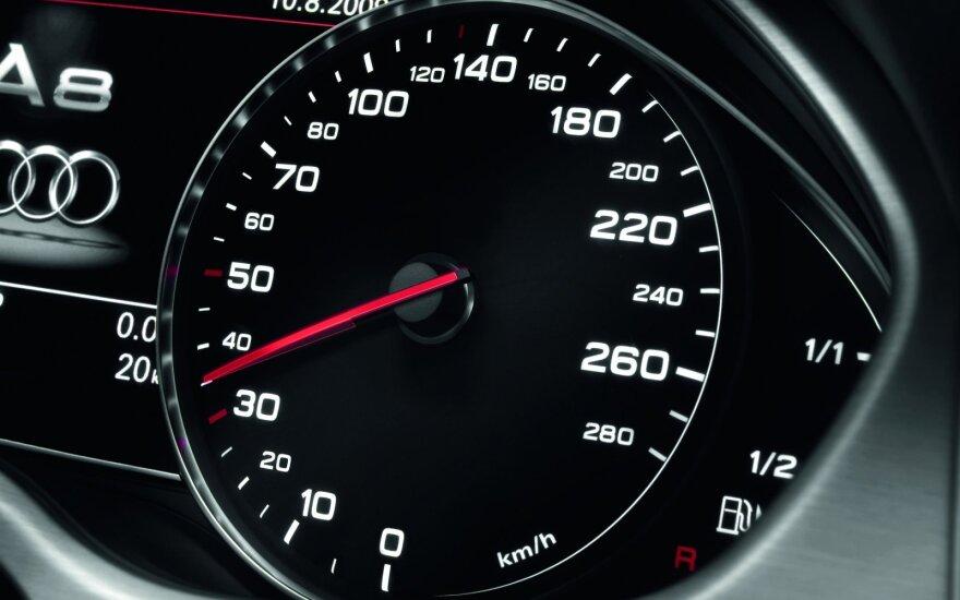 Kas nutinka, kai leistinas greitis viršijamas 20 km/val. arba daugiau