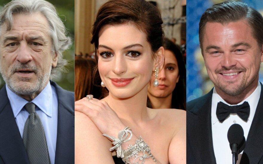 Robertas De Niro, Anne Hathaway, Leonardo DiCaprio
