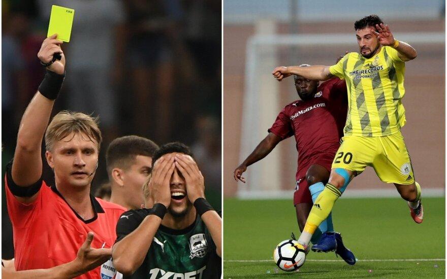 """Sergejus Lapočkinas (kairėje), """"Ventspils"""" futbolininkas Girogi Mchedišvilis"""