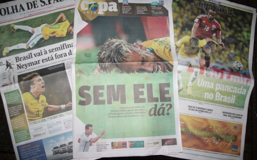 Pirmieji Brazilijos spaudos puslapiai mirga antraštėmis apie Neymaro traumą