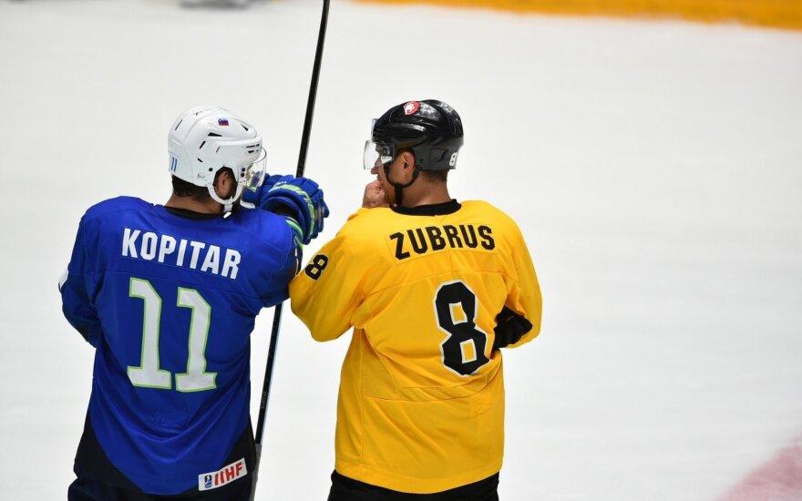Anže Kopitaras (kairėje), Dainius Zubrus (Foto: Maratas Akimžanovas)