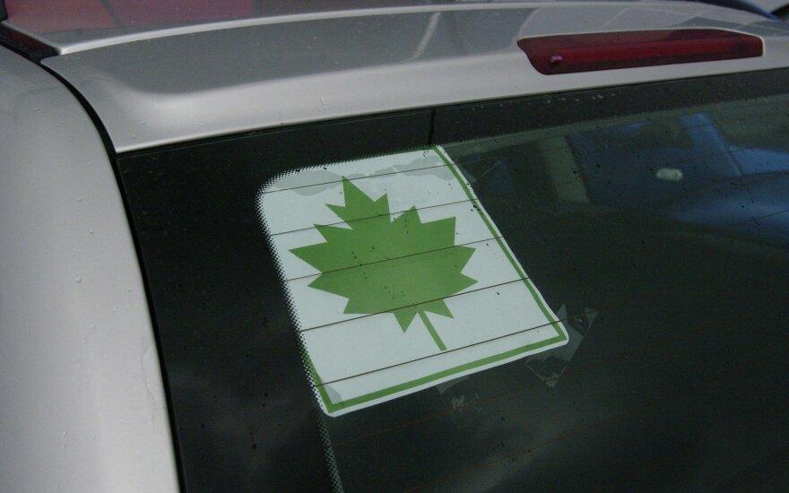 Klevo lapas, nepatyręs vairuotojas, pradedantysis vairuotojas